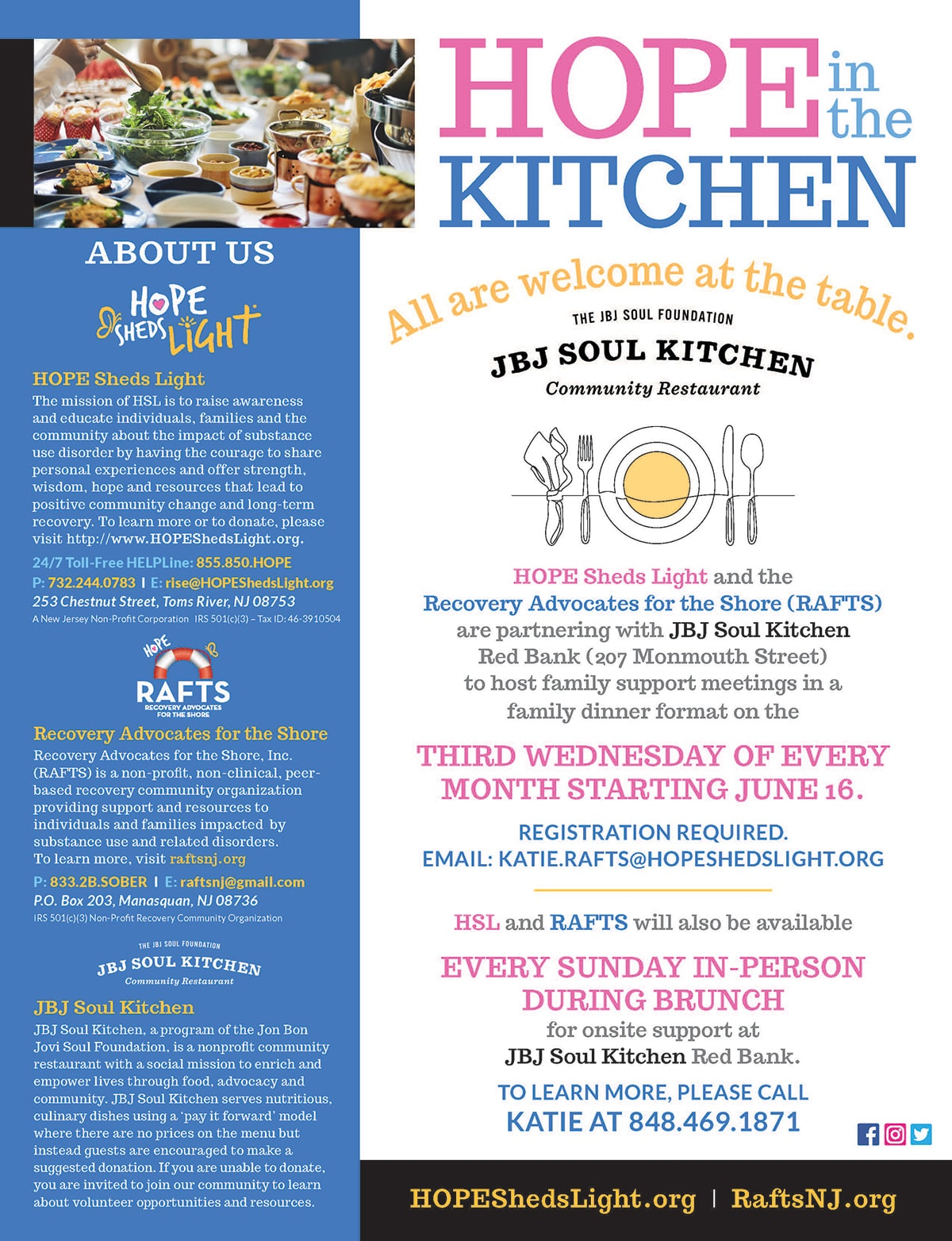 HOPE Sheds Light and Recovery Advocates for the Shore partner with JBJ Soul Kitchen to host family support meeting